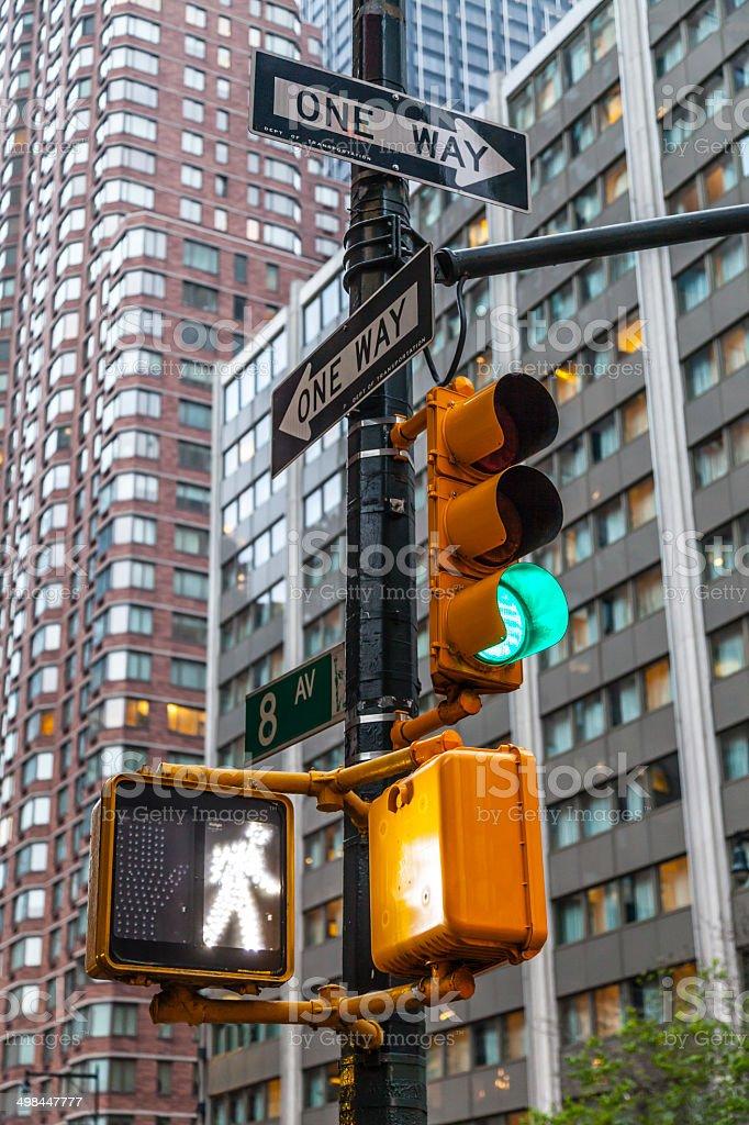 New York city traffic sign stock photo