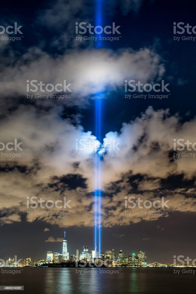 New York City Tribute in Light, One World Trade Center stock photo