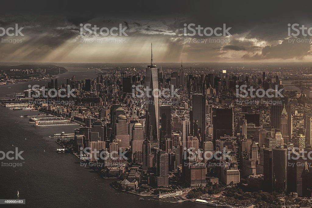 New York City under the storm stock photo