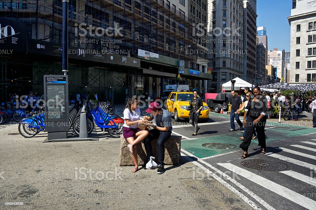 New York City Urban Life, Lunch Time near Citibike Station stock photo