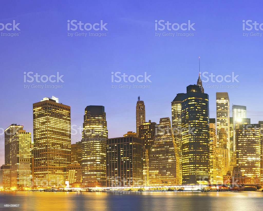 New York City  USA, lights on the buildings in Manhattan stock photo