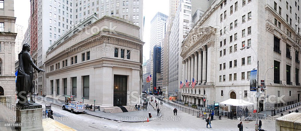 New York City Wall Street Panorama stock photo