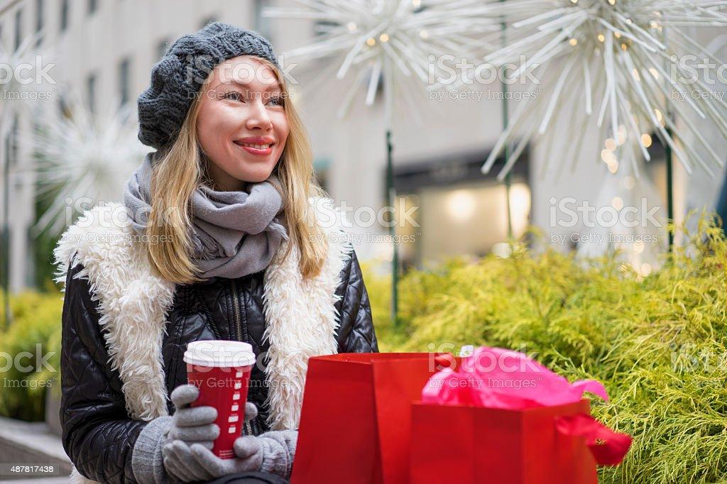 New York City winter holiday tourist stock photo