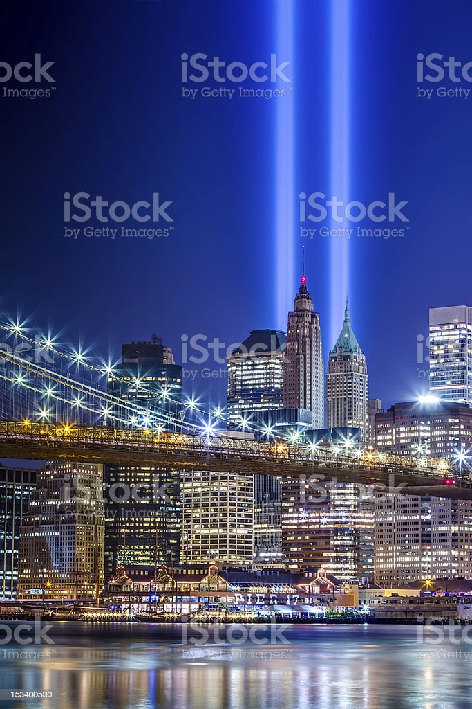 New York City with 911 Lights stock photo