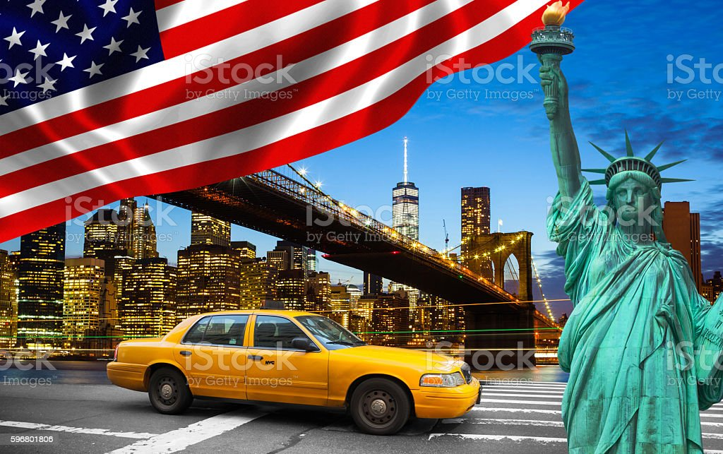 New York City with Liberty Statue ad yellow cab stock photo