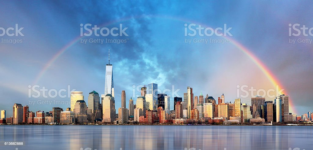 New York City with rainbow, Downtown stock photo