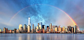 New York City with rainbow, Downtown