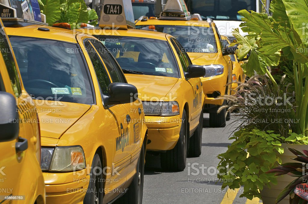 New York City Yellow Taxis waiting to move in traffic stock photo
