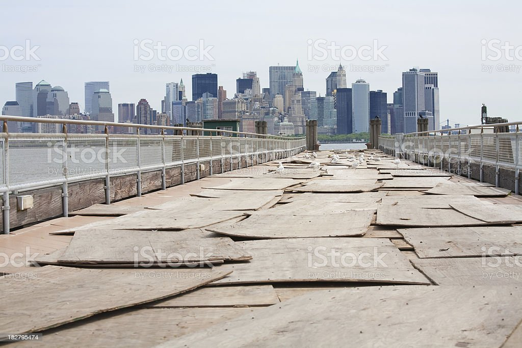 New York Cityscape and old pier royalty-free stock photo