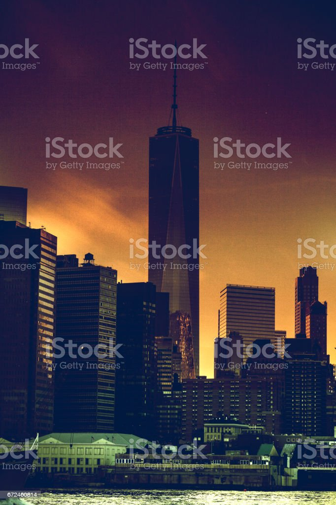 New York Cityscape, modern downtown skyline stock photo