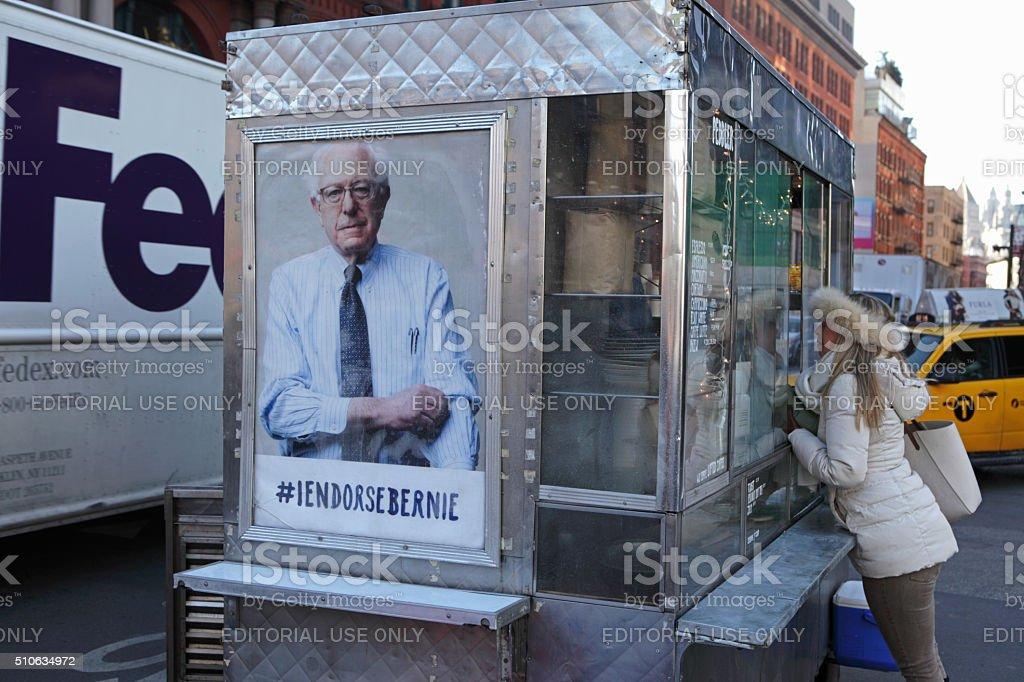 New York coffee cart displaying a photo endorsing Bernie Sanders stock photo