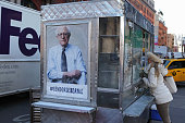 New York coffee cart displaying a photo endorsing Bernie Sanders