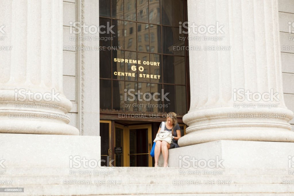 New York County Courthouse and Woman stock photo