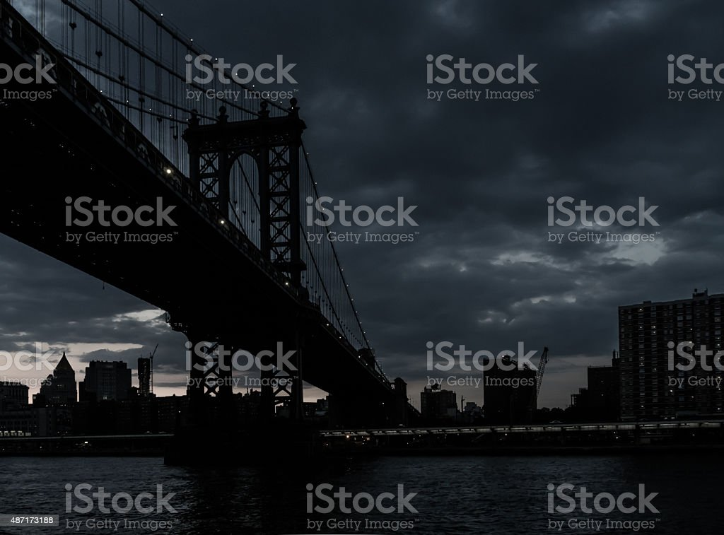New York Dark Manhattan Bridge stock photo
