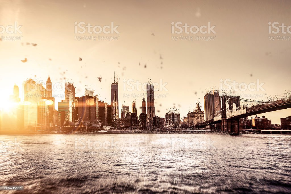 New York downtown apocalypse stock photo