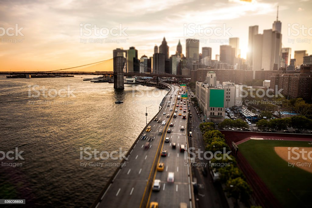 New York Downtown skyline - Aerial View stock photo