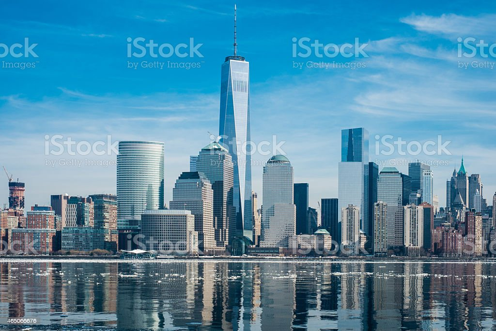 New York downtown skyline in winter stock photo