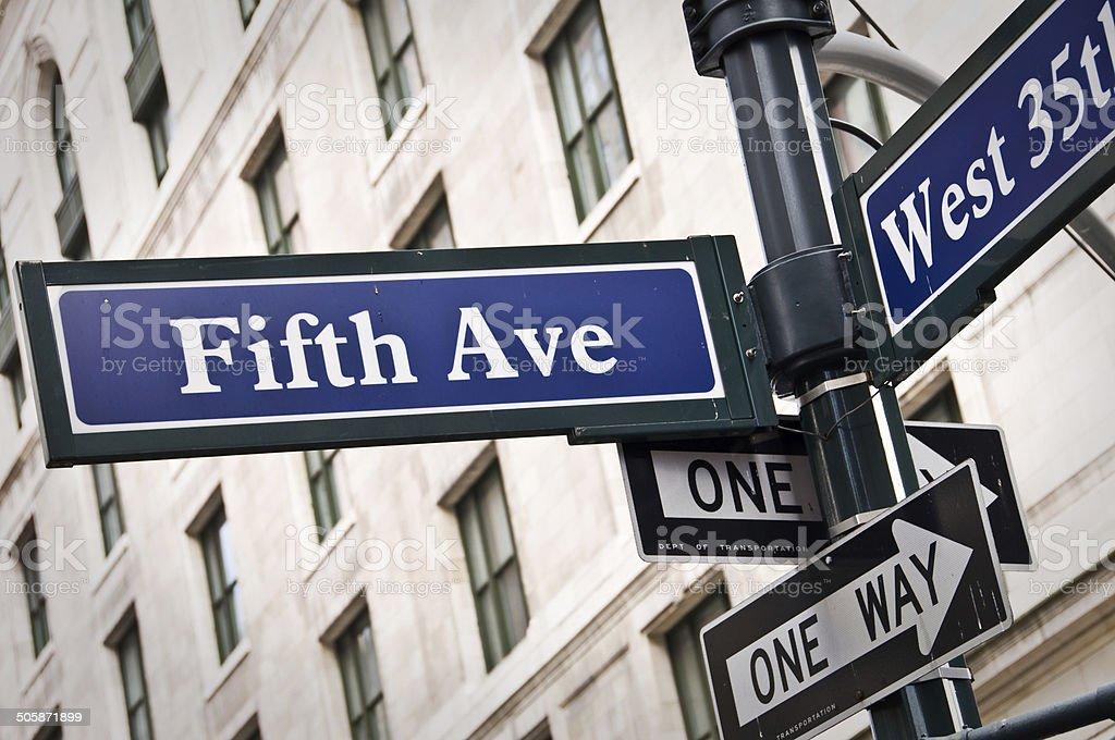New York Fifth avenue street sign post stock photo