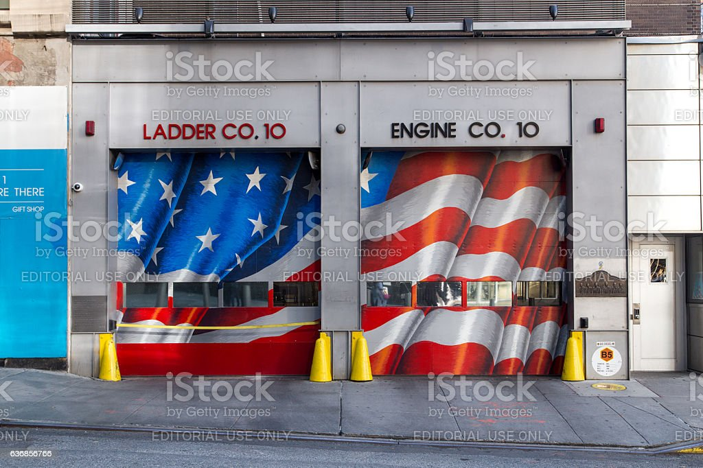 New York Fire Station Gate stock photo