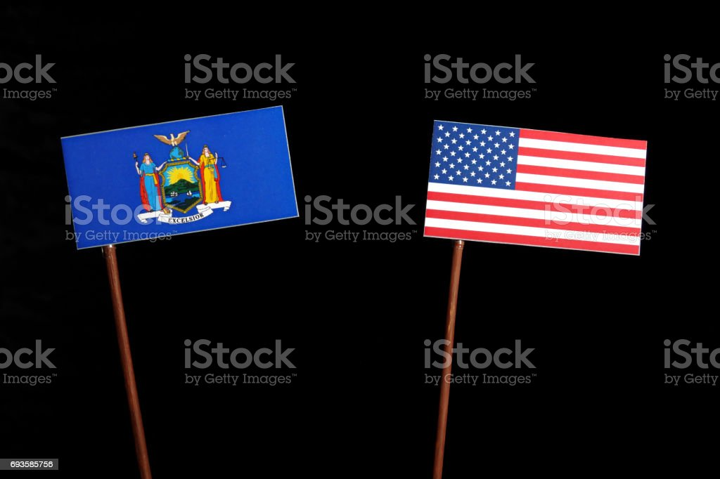New York flag with USA flag isolated on black background stock photo