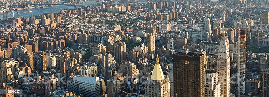 New York golden spires city blocks stock photo