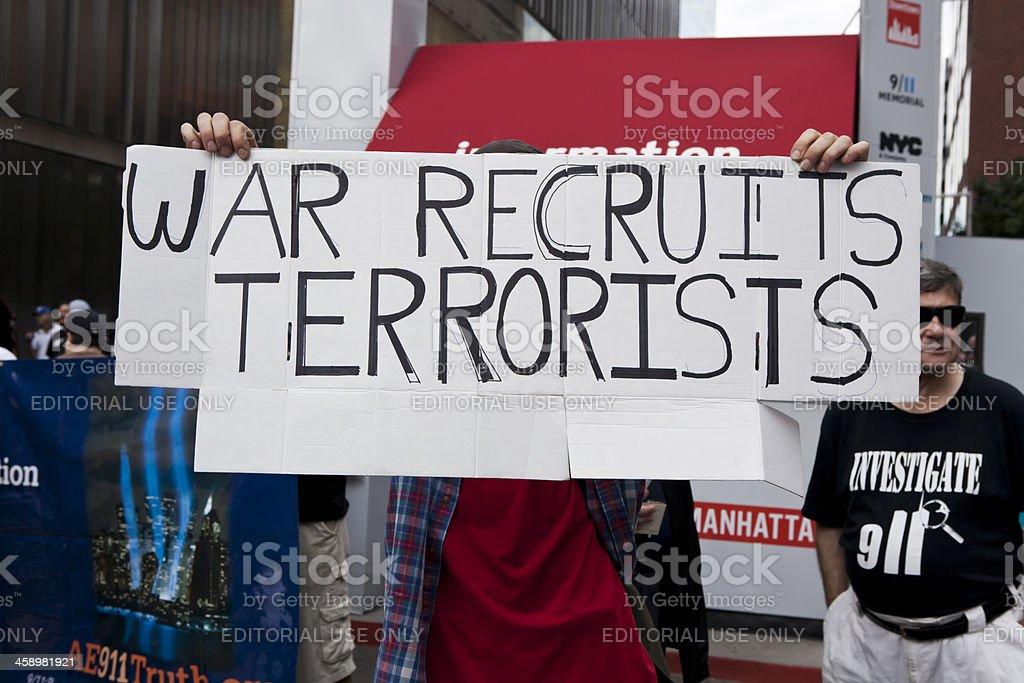 New York Ground Zero September 11th War Recruits Terrorists Sign stock photo