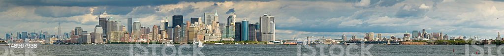 New York harbor mega panorama royalty-free stock photo
