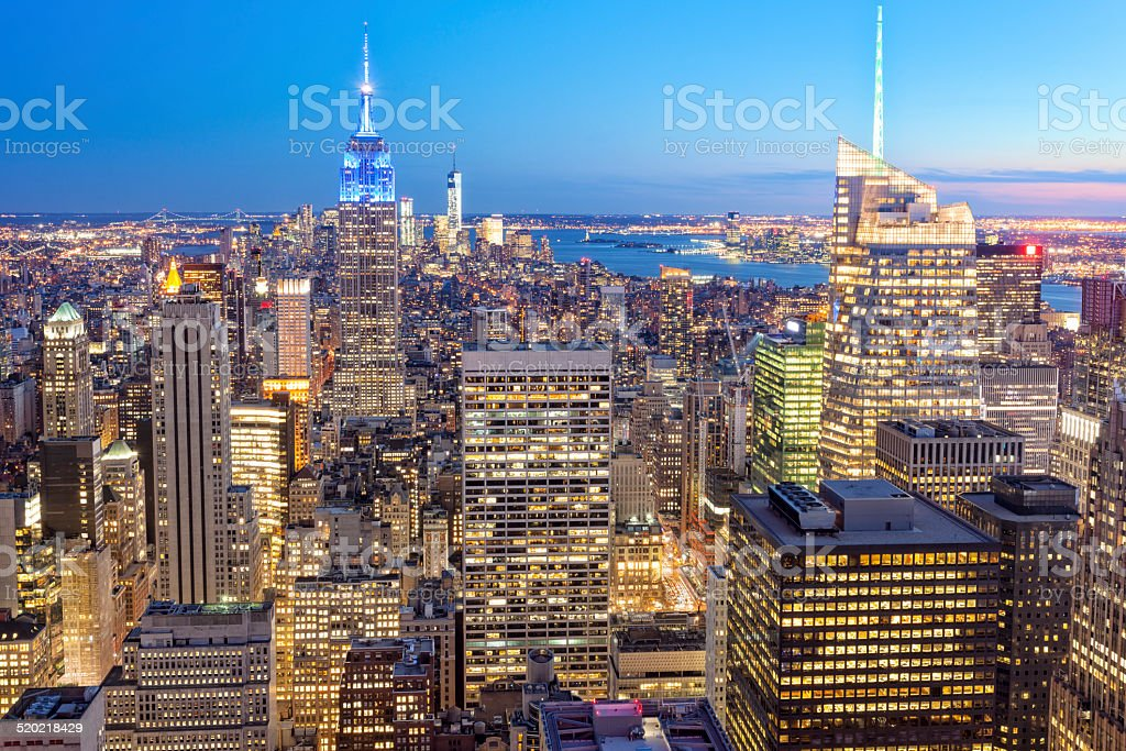 New York Illuminated at Dusk, Elevated View stock photo