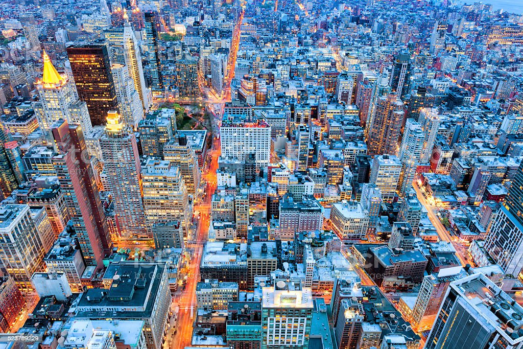New York Illuminated at Twilight, Elevated View stock photo