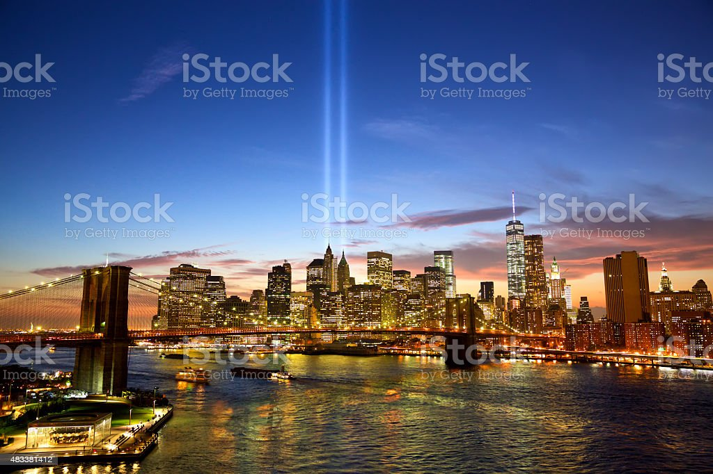 New York in memory of September 11 stock photo
