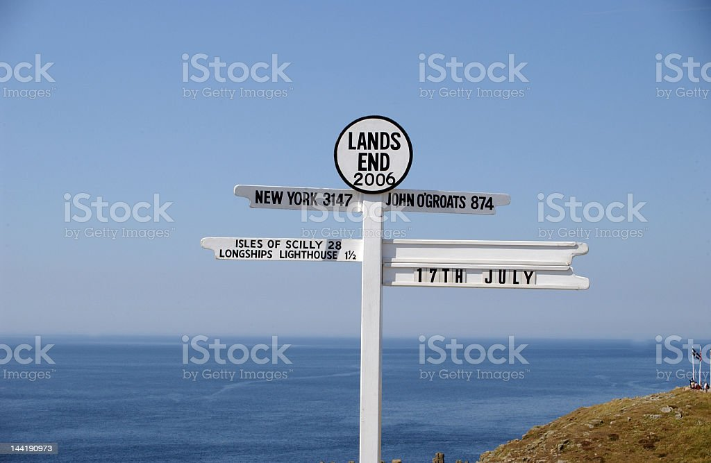 New York lands end sign by the sea stock photo