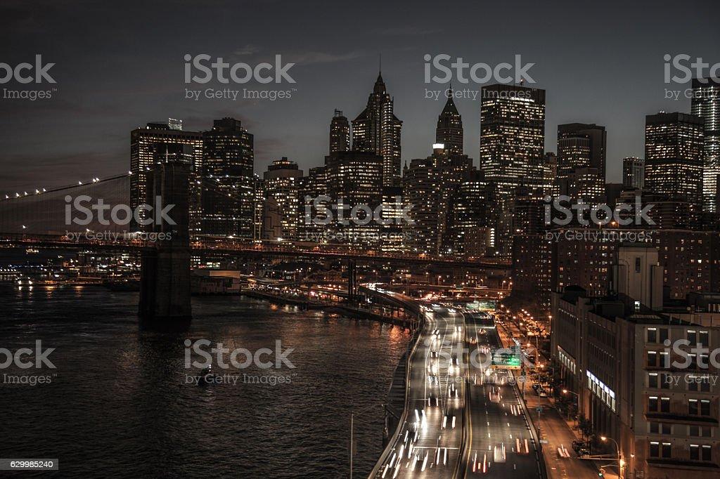 New York Lower Manhattan at night skyline stock photo