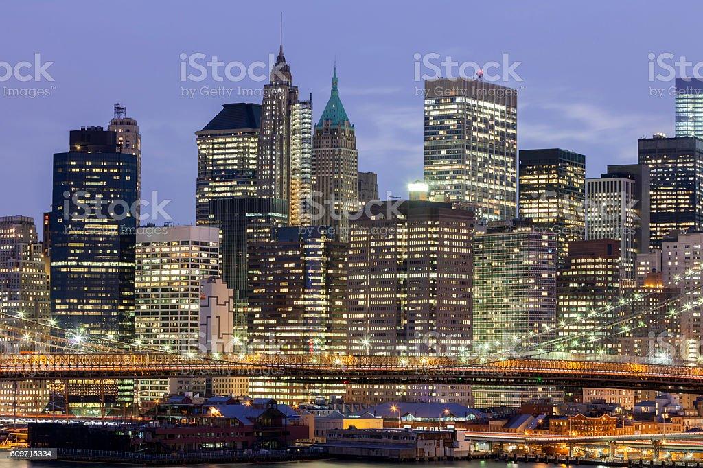 New York, Lower Manhattan Skyline at Night stock photo