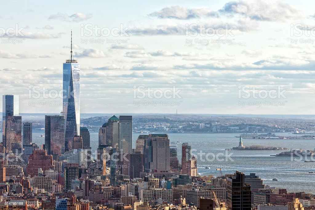 New York, Lower Manhattan Skyline With Freedom Tower stock photo