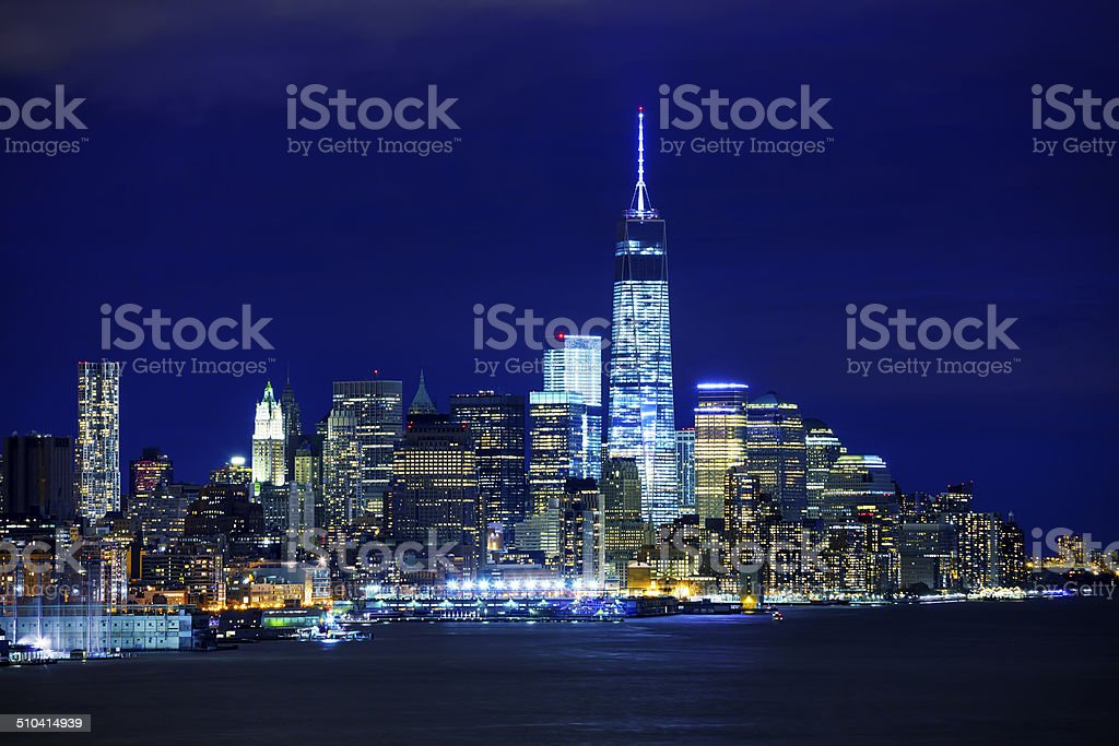 New York, Manhattan at Night, View Over Hudson River stock photo
