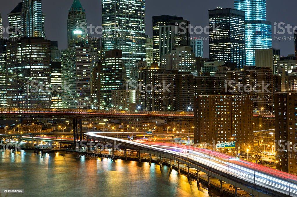 New York, Manhattan Skyline and Traffic At Night stock photo