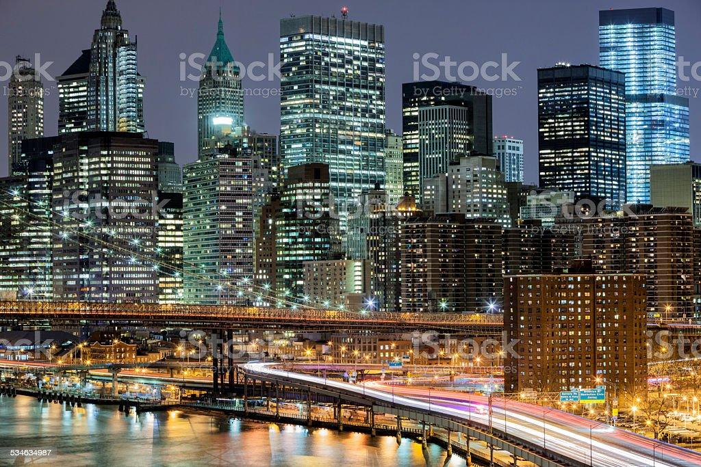 New York, Manhattan Skyline At Night stock photo