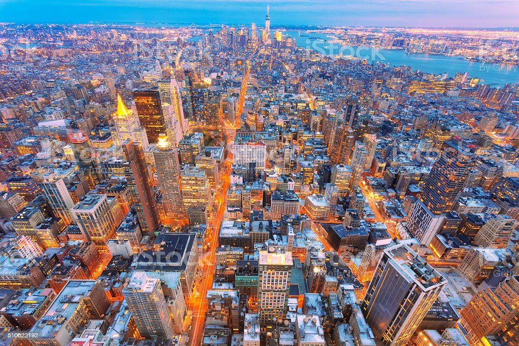 New York, Midtown Manhattan, Aerial View at Dusk stock photo