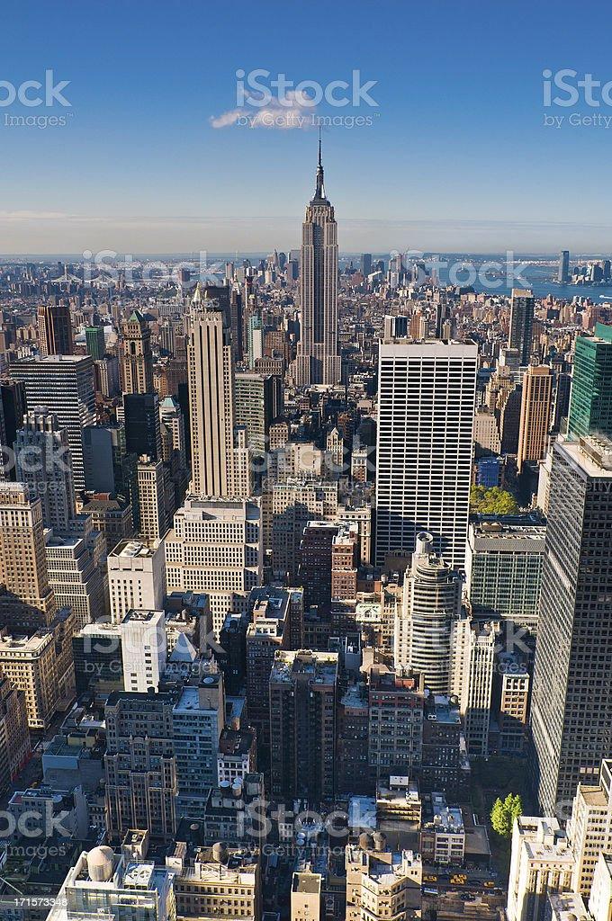 New York Midtown Manhattan skyscrapers aerial vertical vista city blocks royalty-free stock photo