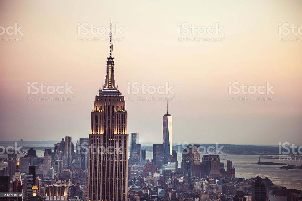 New York Midtown skyline - Aerial View stock photo