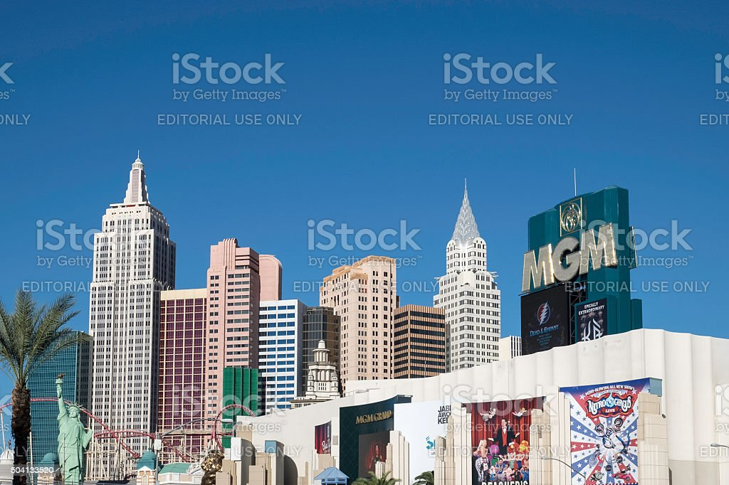 New York New York and MGM Grand Hotel stock photo