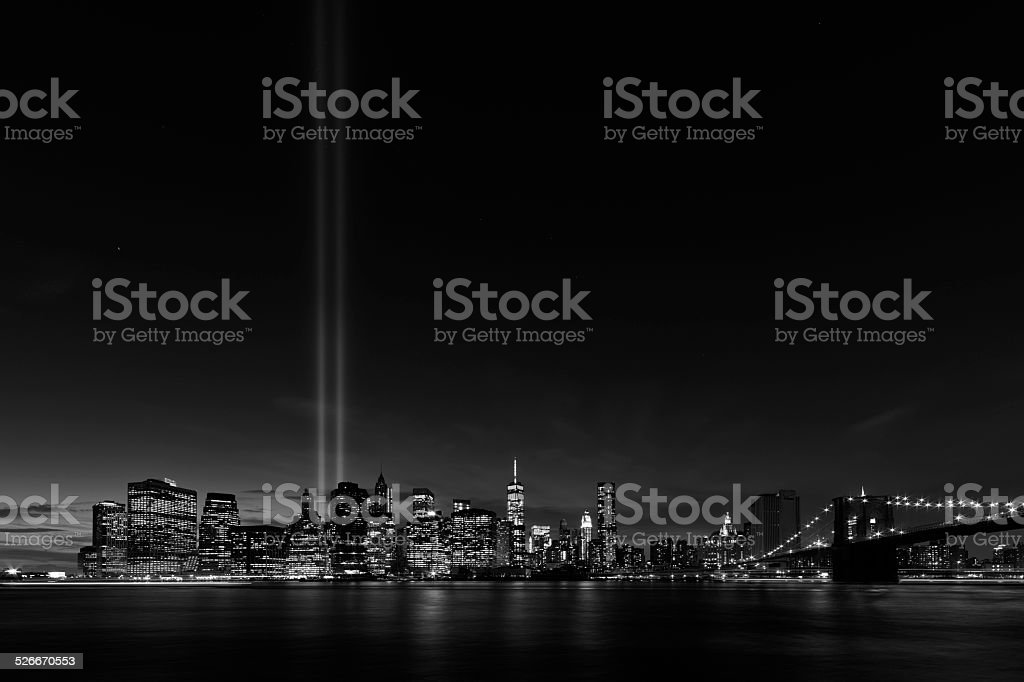 New York night skyline stock photo