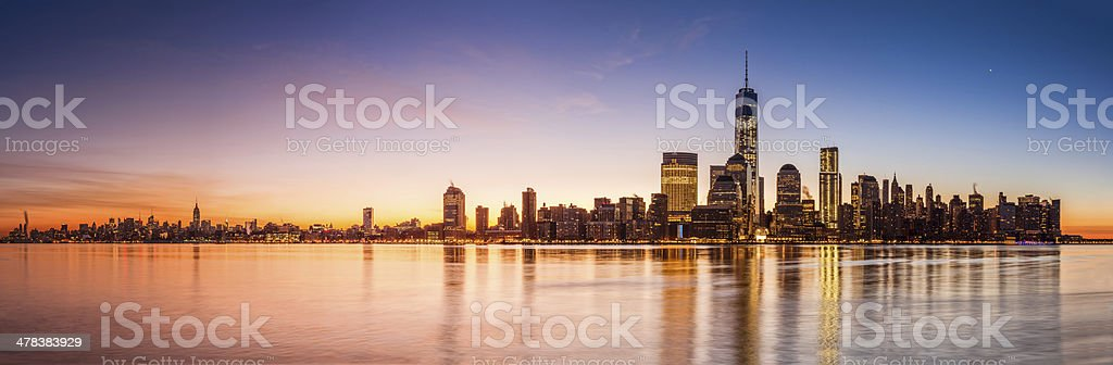 New York panorama at sunrise stock photo