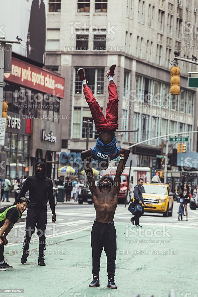 New York People: Performers in Times Square, Manhattan stock photo