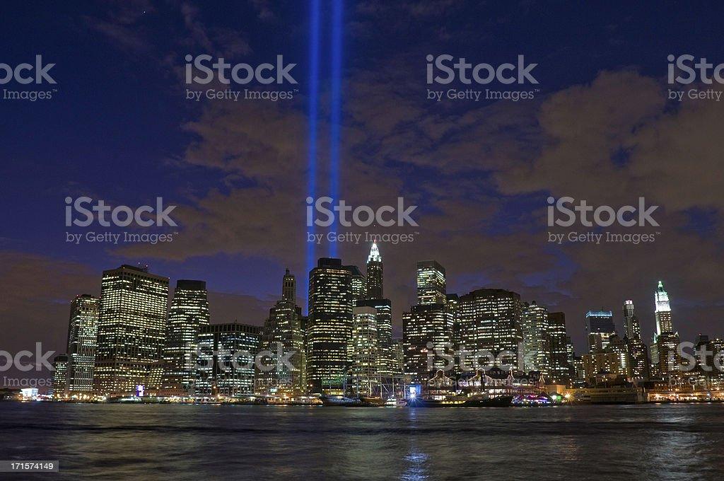 New York pillars of light glittering downtown skyscrapers Lower Manhattan stock photo