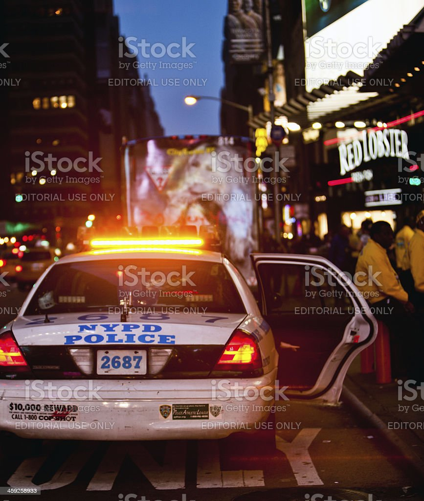New York Police Department Car on Times Square royalty-free stock photo