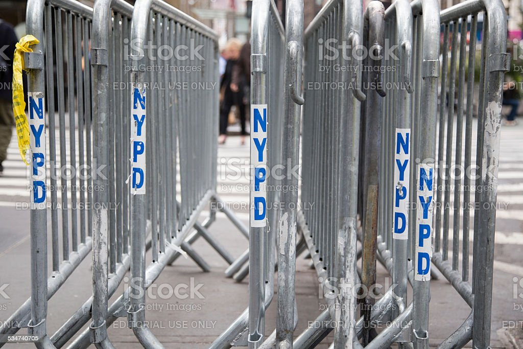 New York Police Department Security Fences stock photo