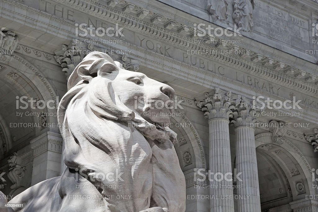 New York Public Library & statue of lion stock photo