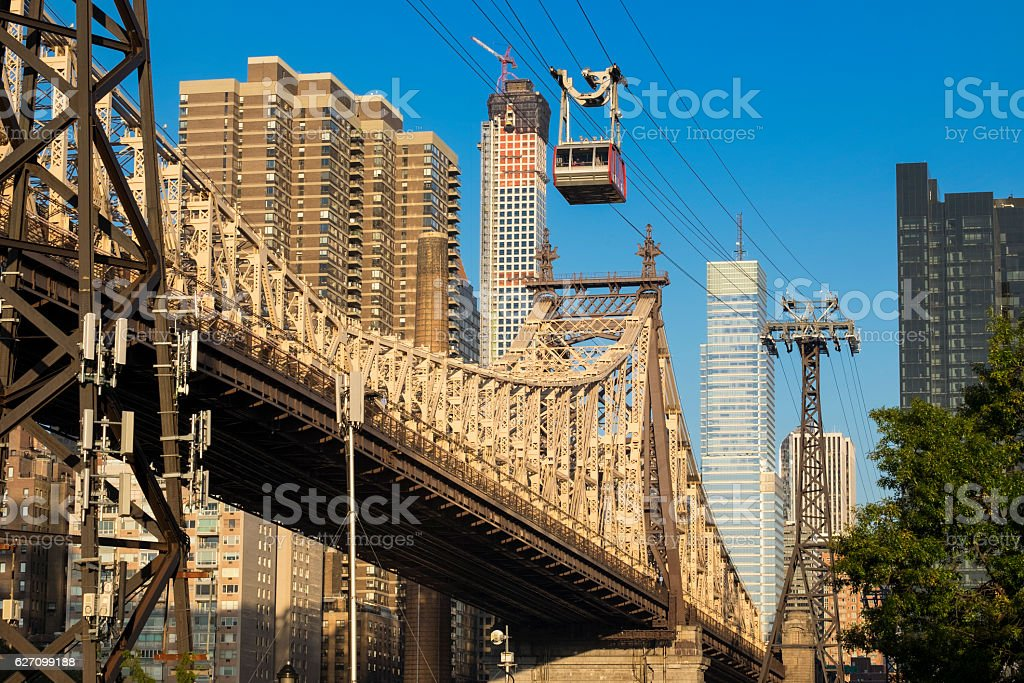 New York - Queensboro Bridge cable car stock photo