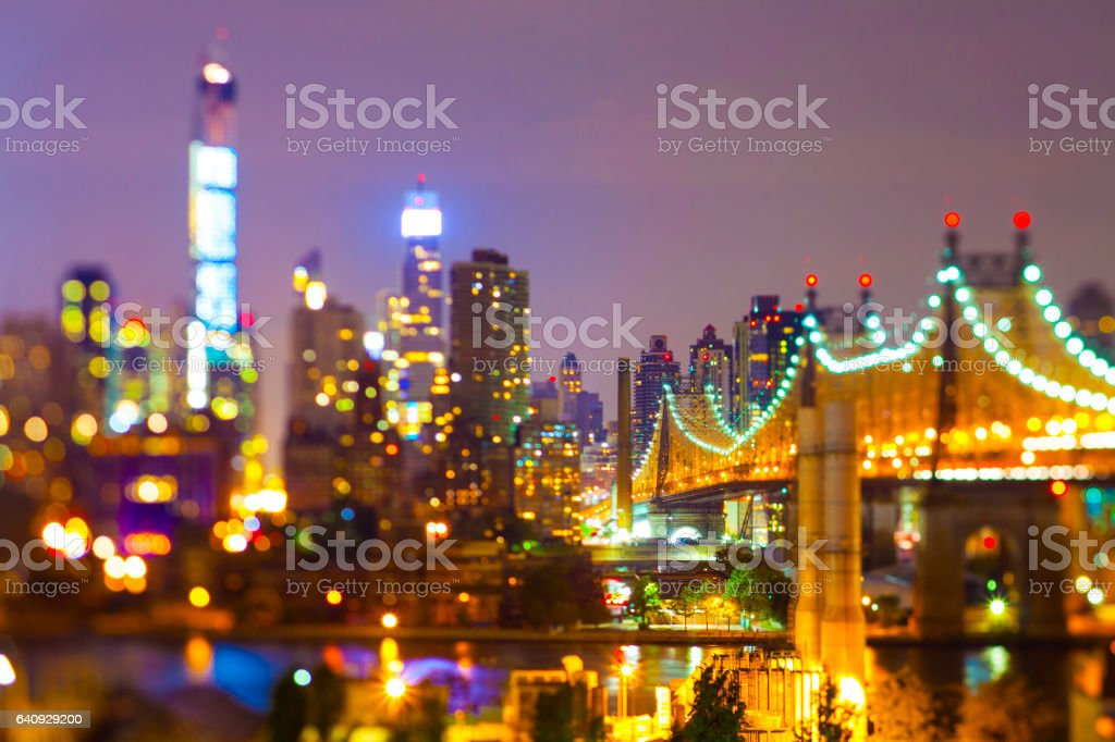 New York Queesnborough bridge at night stock photo